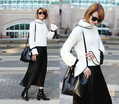 Get this look: http://lb.nu/look/8627075  More looks by E Maille: http://lb.nu/user/15440-E-M  Items in this look:  Genuine People Sunglasses, Genuine People Tie Sweater, Mansur Gavriel Bucket Bag, Satin Skirt, Mango Boots   #artistic #chic #gothic