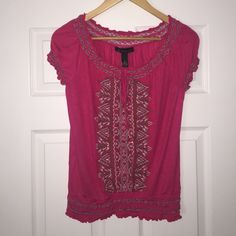 INC International Concepts Pink Embellished Top This beautiful top is in perfect condition! Worn only ONCE before. The size is Small. Dark Pink top embellished with blue, white, and beaded detailing! Goes great with jeans! INC International Concepts Tops Blouses