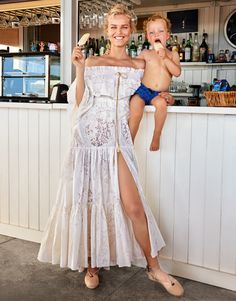 Supermodel Eva Herzigova stars as super mom in a vacation story for the Winter Escape 2016 issue of Porter Magazine