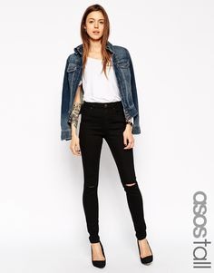 ASOS TALL Ridley High Waist Ultra Skinny Jeans In Clean Black With Knee Rip