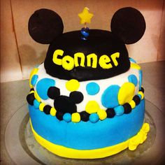 Conners Mickey Cake- my first fondant trial bit bumpy but learning!