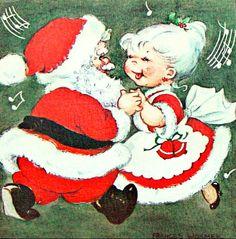 Making merry Old Time Christmas, Christmas Couple, Old Fashioned Christmas, Christmas Past, Father Christmas, Felt Christmas, Christmas Holidays, Vintage Christmas Images, Retro Christmas