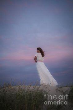 Title  Sunset In The Dunes   Artist  Maria Heyens   Medium  #Photography #woman #whitedress #sunset #sanddunes .. Beautiful!! @MariaHeyens