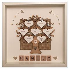 Personalised Shimmer Neutral Beige Scrabble Family Tree Box Frame Keepsake Wedding Gift Home Christmas Birthday Anniversary Mothers Day Scrabble Neutral Beige & White Up To 14 Names Diy Mother's Day Crafts, Mother's Day Diy, Crafts To Do, Creative Crafts, Scrabble Letter Crafts, Scrabble Art, Box Picture Frames, Box Frame Art, Puzzle Piece Crafts