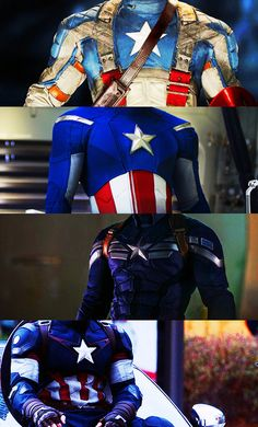 Cap's outfits throughout Captain America: The First Avenger, The Avengers, Captain America: The Winter Soldier, & The Avengers: Age of Ultron