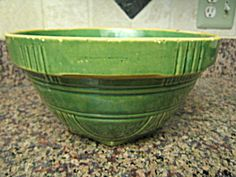 Antique green glazed yellow ware bowl; likely Brush McCoy;  for sale at More Than McCoy on TIAS!