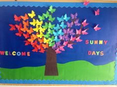 Spring , bulletin boards, kindergarten of Cambridge school , Romania, welcome sunny days, sunny , days, spring time,, butterflies, trees, butterfly