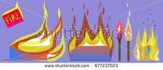 The image of burning objects with different flames. One object blazes with a side. Two more objects are burning on all sides. The rest are matches. A flame is raised over one match.