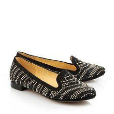 ... Perlenzauber - Edler Loafer in schwarzer Velourslederoptik mit dekorativen Perlen in gold und schwarz. Mit einem Blockabsatz und einer gepolsterten Innensohle.