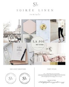 Branding Guide - Soiree Linen by Leslie Vega Design, paris inspired brand, neutrals, black, grey, blush, mood board, logo design, sub logo design, font selections, classic, soft