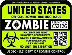 zombie apocalypse hunting license