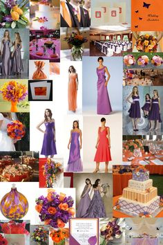 Purple tropical wedding theme | The dresses shown are from Forever Yours Expressions Bridesmaids .