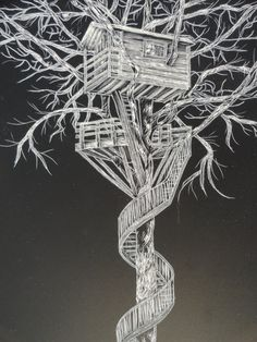Going up, tree house, fairy house, staircase, scratchboard - Artist Print