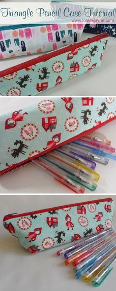 Free Pattern for Triangle Pencil case, easy quick sew project on Lorelei Jayne