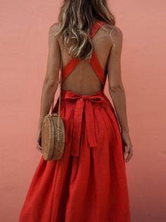 Backless criss cross pleated midi dress women summer off shoulder sleeveless bow sundress casual beach boho dress - When Fashion Fades, Style Remains -