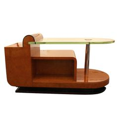 Large Art Deco Coffee Table by Jules Cayette (Designer), Art Deco, France, ca.1930, Glass, Mahogany, Chrome, Amboyna