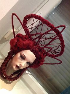 READY TO SHIP Art Wig Red Burgundy Burlesque Fantasy Synthetic hair weave woven braid brown red gold burgundy highlights headdress headpiece. $399.00, via Etsy.
