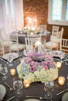 Lavender Roses, White Hydrangea Romantic Wedding Centerpieces | Design Perfection | Theo Milo Photography https://www.theknot.com/marketplace/theo-milo-photography-wilmington-nc-540839 |