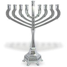 Nickel Plated Menorah - Art Deco , Religious Items | Judaica Web Store
