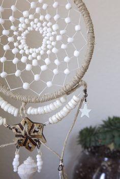MOON DREAMER // White Dreamcatcher with Shell Pendant on Etsy, $38.00