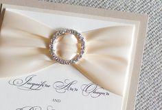 Couture wedding invitation, ivory and champagne invite, classic colors, rhinestone buckle invitation, sparkly invitation