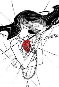 "RT @PhantomRin9: ""Unleash my heart and make me see"" (listening: ""Undress Me"" @Anggun_Cipta) #original #art #illustration #heart #chains #bird #music"