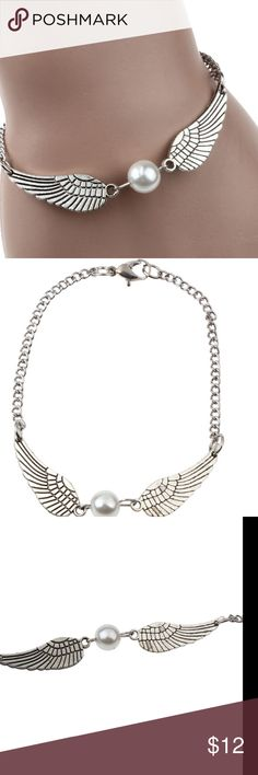 (B22) Pearl Angel Wings Bracelet Retro Pearl angel wings jewelry, peace bracelet. A beautiful peace to add to your collection. Jewelry Bracelets