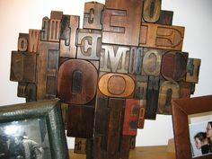 collages de caractères d'imprimerie en bois Firewood, Collages, Industrial, Texture, Crafts, Vintage, Printing, Letters, Objects