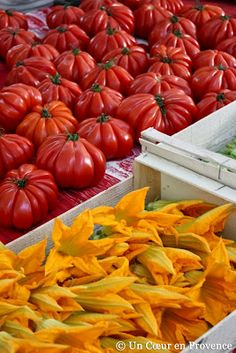 Un Coeur en Provence These look like yummy tomatoes! Fresh Fruits And Vegetables, Fruit And Veg, La Provence France, Fresco, Tapas, Squash Blossom, Exotic Flowers, Farmers Market, Restaurant
