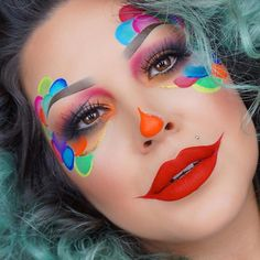 Karneval 🤡 - Make up teatro - Makeup Cute Clown Makeup, Halloween Face Makeup, Cute Clown Costume, Makeup Art, Eye Makeup, Makeup Tips, Clown Face Paint, Make Carnaval, Female Clown