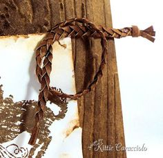 Kittie Kraft - faux leather braid using inked paper! Grapevine Wreath, Grape Vines, Embellishments, Stampin Up, Braids, Homemade, Ink, Paper, Leather