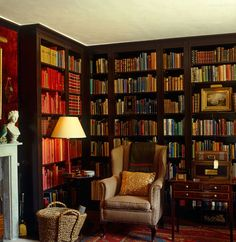 Room of the Day ~ cosy brown personal library of iconic English designer David Hicks at his home 7.9.2014