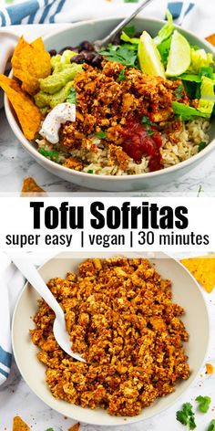 Vegan Mexican Recipes, Vegan Lunch Recipes, Vegan Breakfast Recipes, Delicious Vegan Recipes, Dairy Free Recipes, Veggie Recipes, Quick Vegan Meals, Vegan Dinners, Homemade Tofu