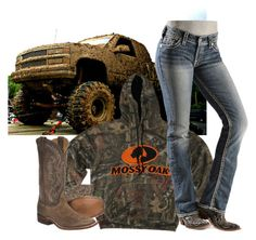 """Last Night: Mudding with Hunter!"" by backwoods-princess ❤ liked on Polyvore featuring Silver Jeans Co. and Nocona"