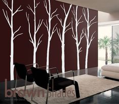 So I want to do this to one of my walls in the living room. The wall color is light gray, so the white trees would be more faint.