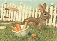 Bunny Garden Pharmacy Art Print Item PF572 Captivating and detailed, the artwork created by Richard Cowdrey exclusively for eMedDecor is available in print form ready for the framing of your choice.  This bunny is storing his bounty in a mortar & pestle left in the garden.  Rich in details this is a gorgeous piece!