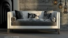 Love this LLoyds of London Marcel Sofa made by Aira Designs and designed by Robert Petril of Mod LIfe. Transitional Living Rooms, Transitional Bedroom, Transitional Fireplaces, Transitional Chairs, Luxury Living Room, Sofa, Furniture, Transitional Decor, Transitional Furniture