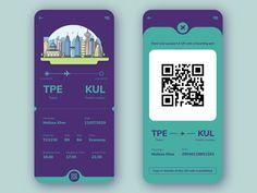 Boarding Pass Concept by Chloe Lim on Dribbble App Ui Design, Mobile App Design, Tag Design, Interface Design, Graphic Design, App Design Inspiration, Branding, Taipei, Kuala Lumpur