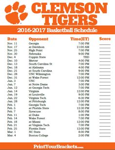 Clemson Tigers 2016-2017 College Basketball Schedule