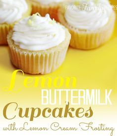 These lemon buttermilk cupcakes disappear within minutes at our house.  They taste like something you would buy at an expensive cupcake shop.  They are very moist and dense, similar to the coconut cake recipe, and are best if frozen overnight.  The lemon cream frosting is to die for, I could eat it with a spoon right out of the mixing  bowl!!!