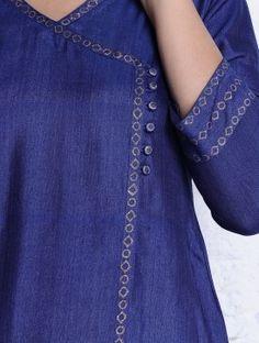 Blue-Golden Khari Hand Block Printed Tussar Cotton Kurta