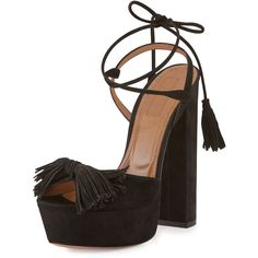 Aquazzura Wild One Tassel 140mm Sandal featuring polyvore, women's fashion, shoes, sandals, heels, black, strappy high heel sandals, high heel sandals, black suede sandals, black heeled sandals and black sandals