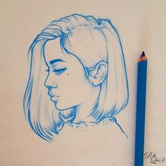 Drawings & Distractions - Blue Monday Girls Love the minimalist look and the use of only blue instead of black or charcoal - helps to convey her mood