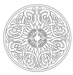 Free coloring page «coloring-mandala-adult-7». A mandala made of an arabesque, giving a nice sense of movement and of harmony