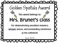 Are you looking for a way to motivate your grade level to have great cafeteria behavior? Here's a great tool to help encourage children to have a quiet and clean cafeteria environment. Teachers decide which class out of the grade level performed the best.