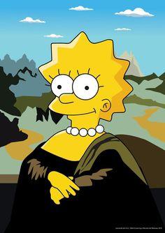 Lisa Simpsons, Simpsons Art, Paintings Famous, Famous Artwork, Simpson Tumblr, Pop Art, Arte Van Gogh, La Madone, Mona Lisa Parody