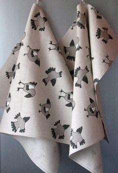 Linen Cotton Dish Towels Crow Birds  Tea Towels by Coloredworld, $17.90