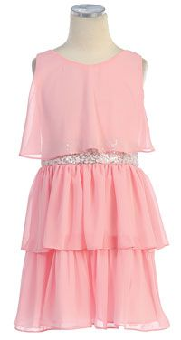 Flower Girl Dresses -   Girls Dress Style 401- Sequin Belt Chiffon Dress