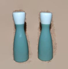 New to ChicMouseVintage on Etsy: Salt and Pepper Shakers - Sage Green and White Pottery  - Bowling Pin Shape (10.00 USD)
