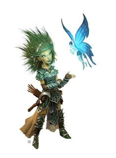 Gnome female druid sickle nature green hair leather armor